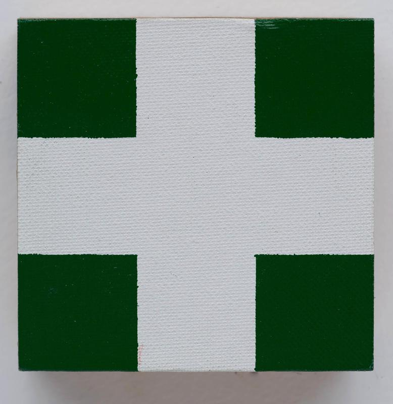 Block Painting: Green and White Cross