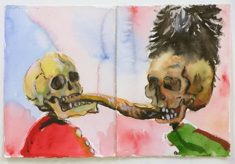 2 skeletons fighting over a fish (After Ensor)